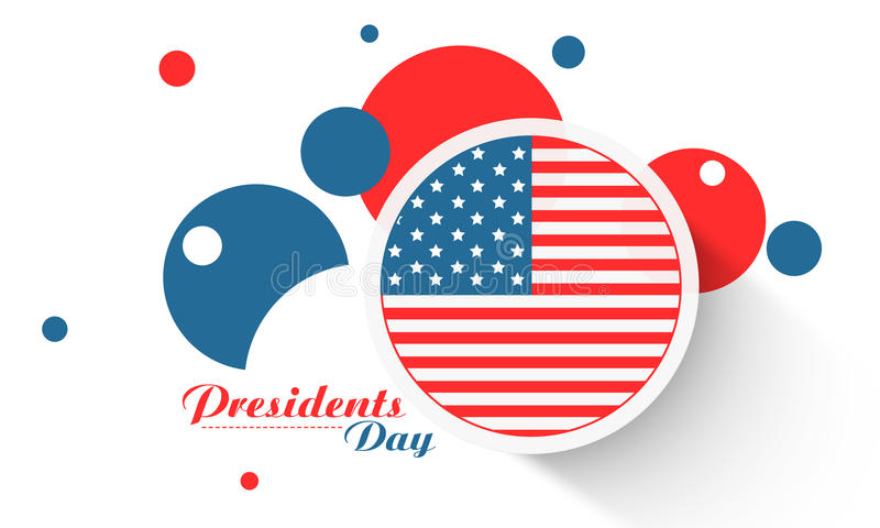 Sticker or label for American Presidents Day celebration. Presidents Day celebration sticker, label or circles in United State American flag color on white vector illustration