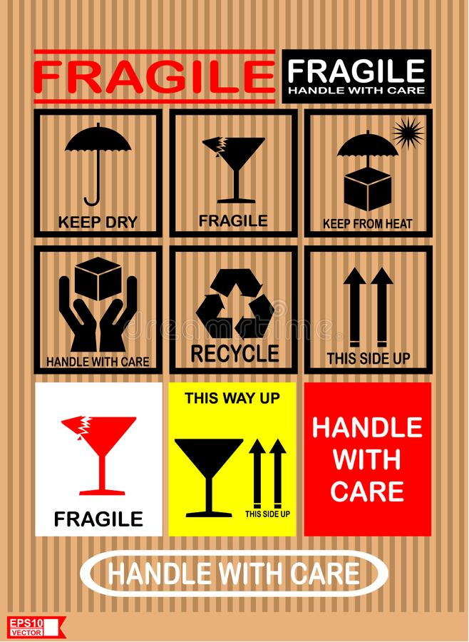Fragile and handle with care, sticker label. Sticker, label, delivery, box, fragile, keep dry, side up,recycle, vector royalty free illustration