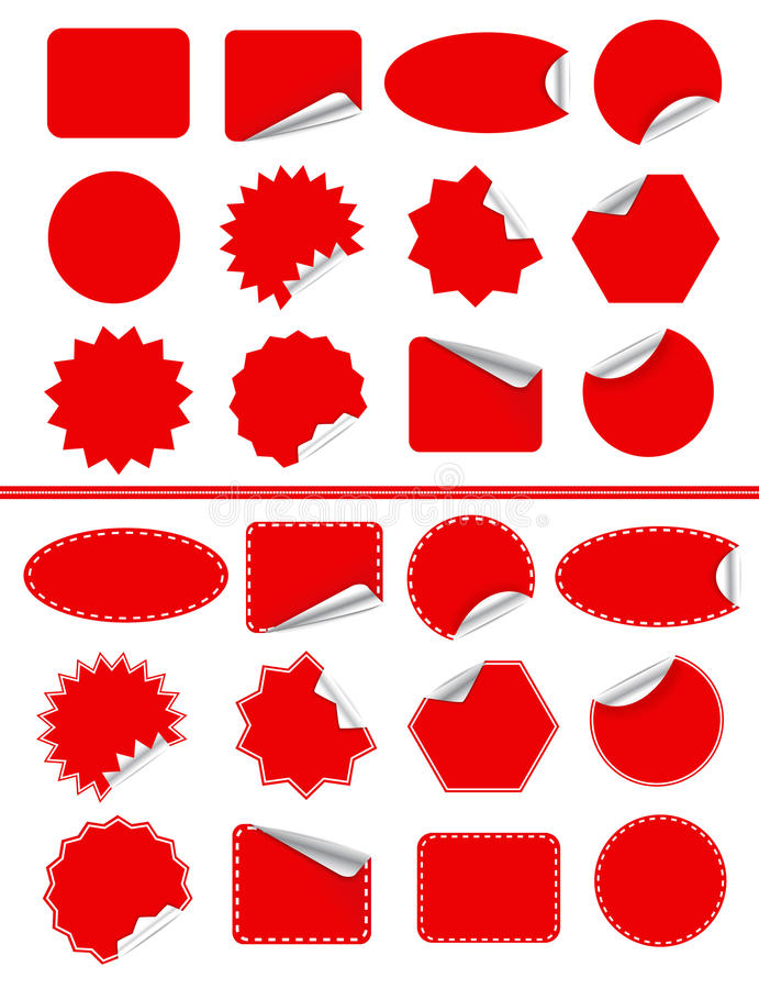 Sticker label set. Red sticky isolated on white royalty free illustration