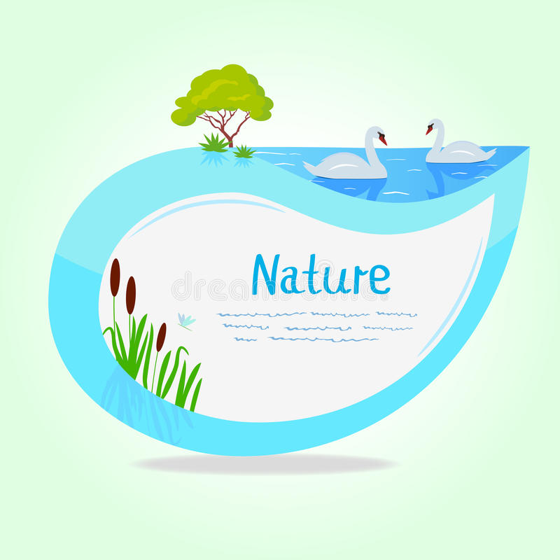 Sticker lake. Stickers in the shape of a leaf with a lake and swans vector illustration