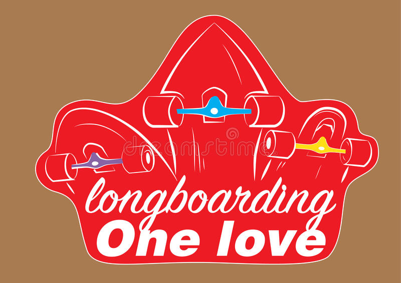 Sticker 3 longboards royalty free stock photos