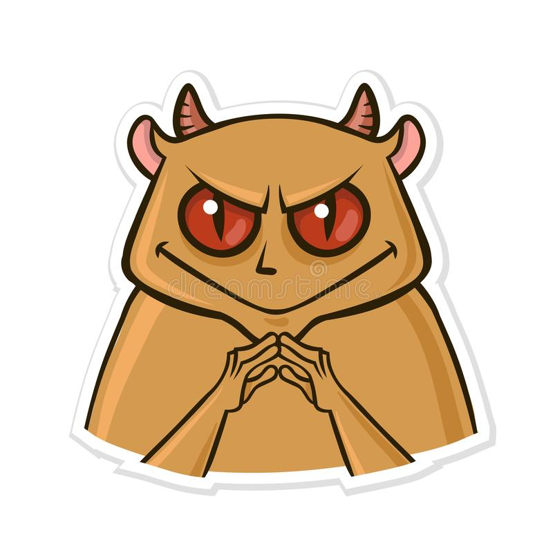 Sticker for messenger with funny animal. Devil hamster is up to something. Vector illustration isolated on white stock illustration