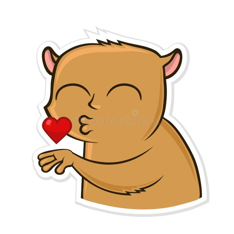 Sticker for messenger with funny animal. Hamster sending air kiss. Vector illustration, isolated on white. stock illustration