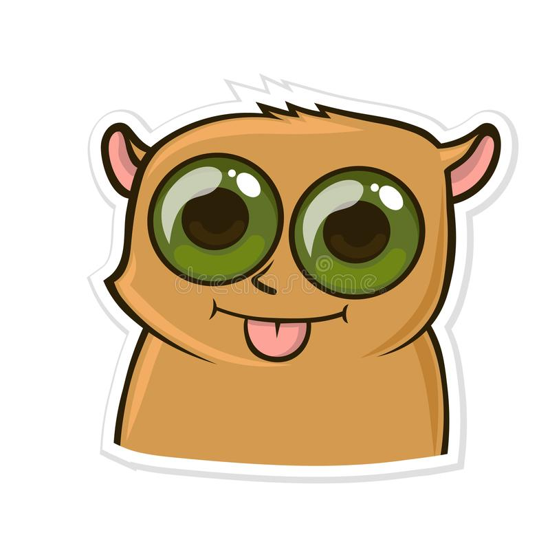 Sticker for messenger with funny animal. Hamster shows tongue. Vector illustration isolated on white background. royalty free illustration