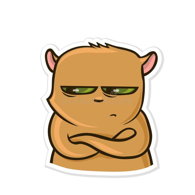 Sticker for messenger with funny animal. Sad off hamster. Vector illustration, isolated on white. royalty free illustration