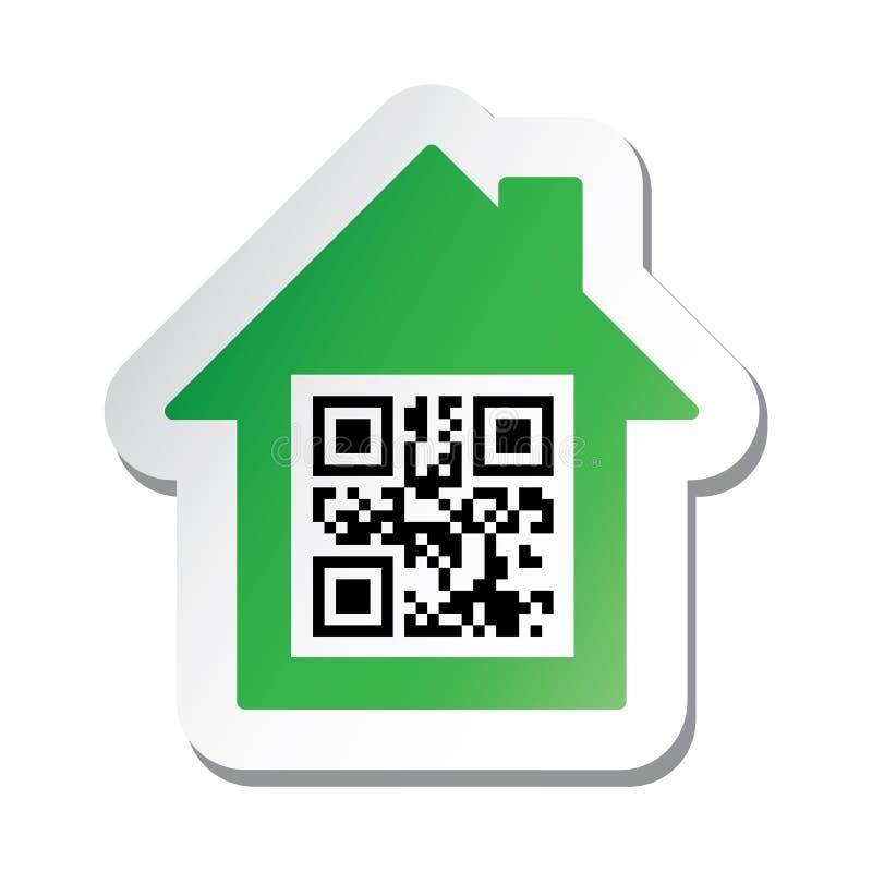 Sticker met de gegevens van het ?Huis voor Verkoop? in qrcode vector illustratie
