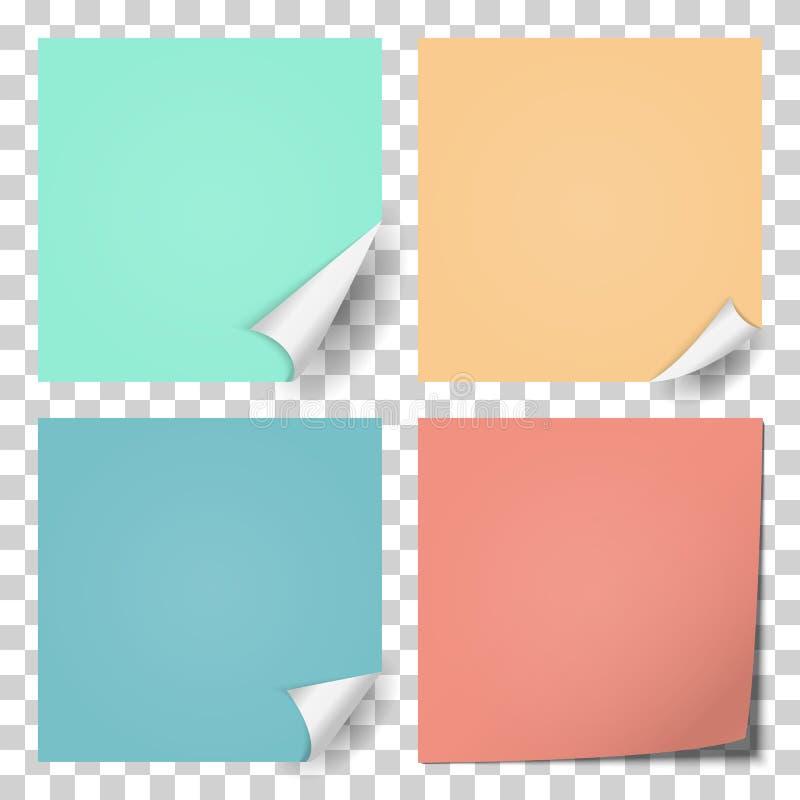 Sticker met gebogen hoek Reeks van vier blanco paginakrul i stock illustratie
