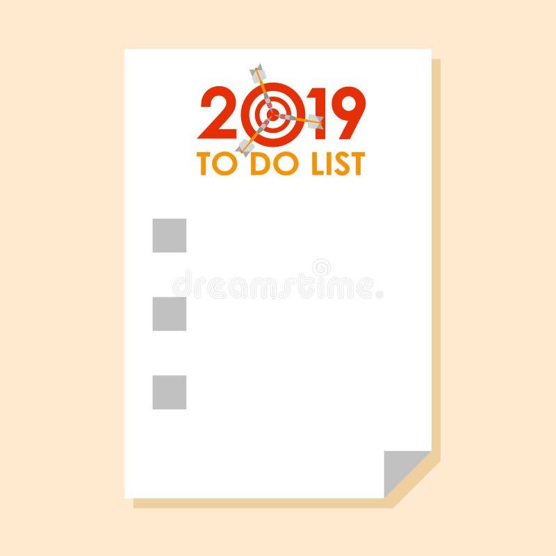 Sticker met om lijst 2019 te doen stock illustratie
