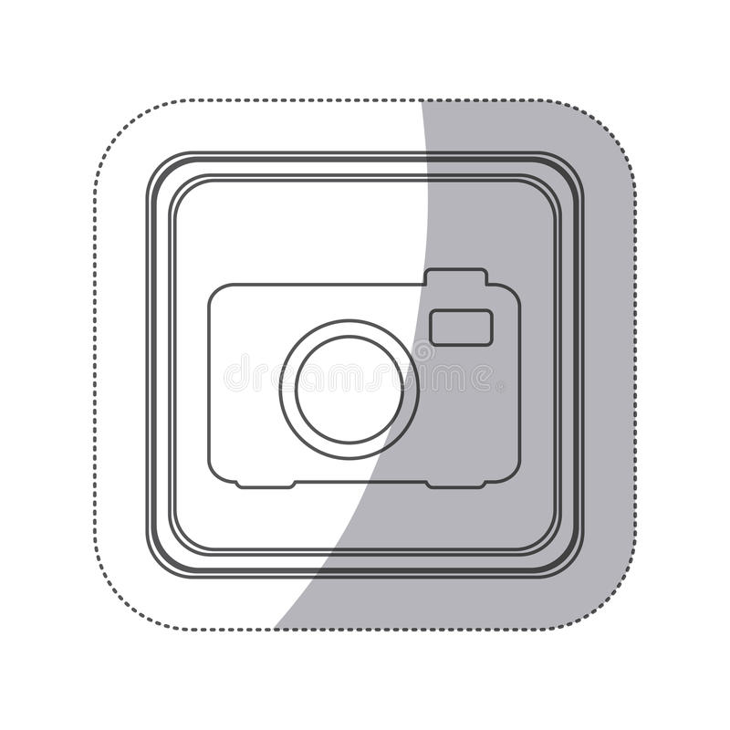 Sticker monochrome silhouette square button with analog camera. Illustration royalty free illustration