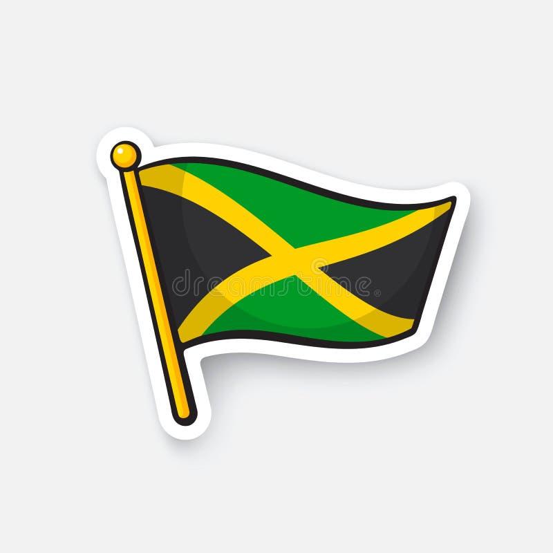 Sticker nationale vlag van Jamaïca royalty-vrije illustratie