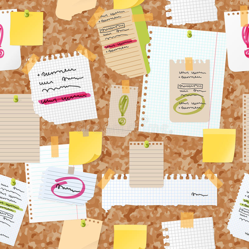 Sticker notes pined on board vector seamless pattern. stock illustration