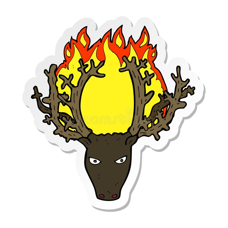 Free Sticker Of A Cartoon Stag Head Fire Symbol Stock Photos - 149233053