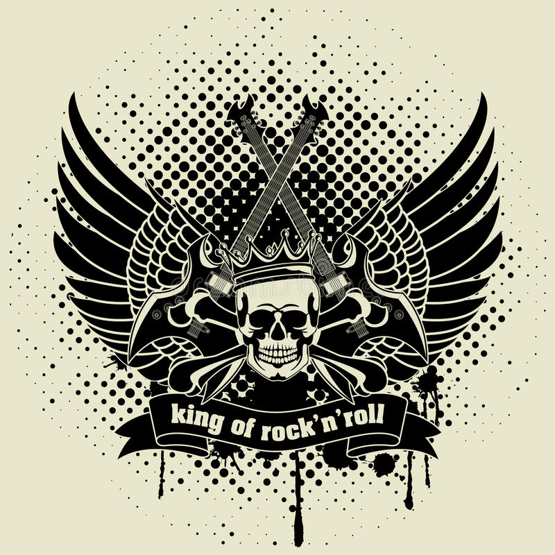 Sticker op het overhemd het beeld van een gitaar van vleugel royalty-vrije illustratie