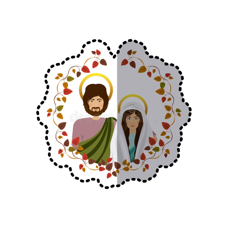 Download sticker ornament with leaves and half body picture colorful virgin mary and saint joseph stock
