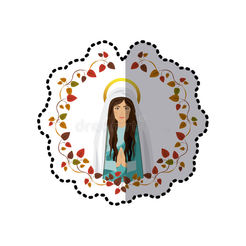 Download sticker ornament of leaves with half body saint virgin mary praying stock vector illustration