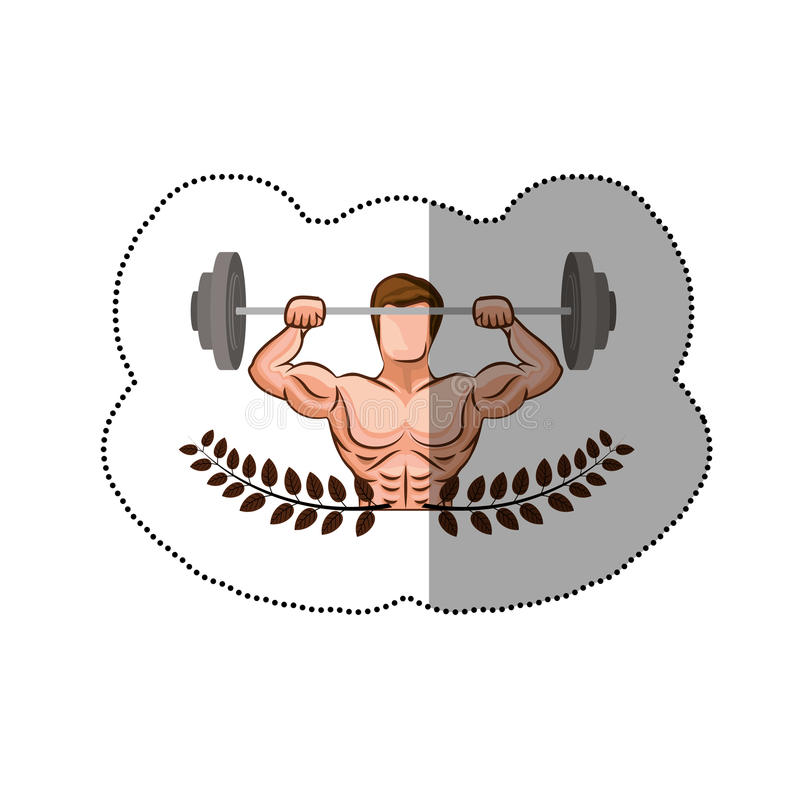 Download sticker ornament leaves with muscle man lifting a disc weights stock illustration illustration of