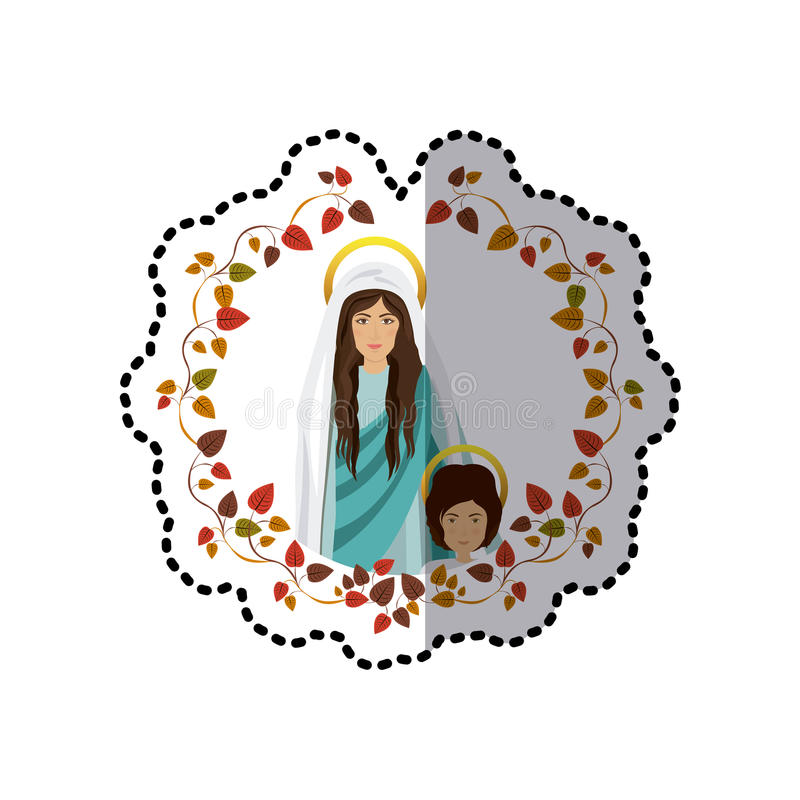 Download sticker ornament of leaves with saint virgin mary and child jesus stock vector illustration
