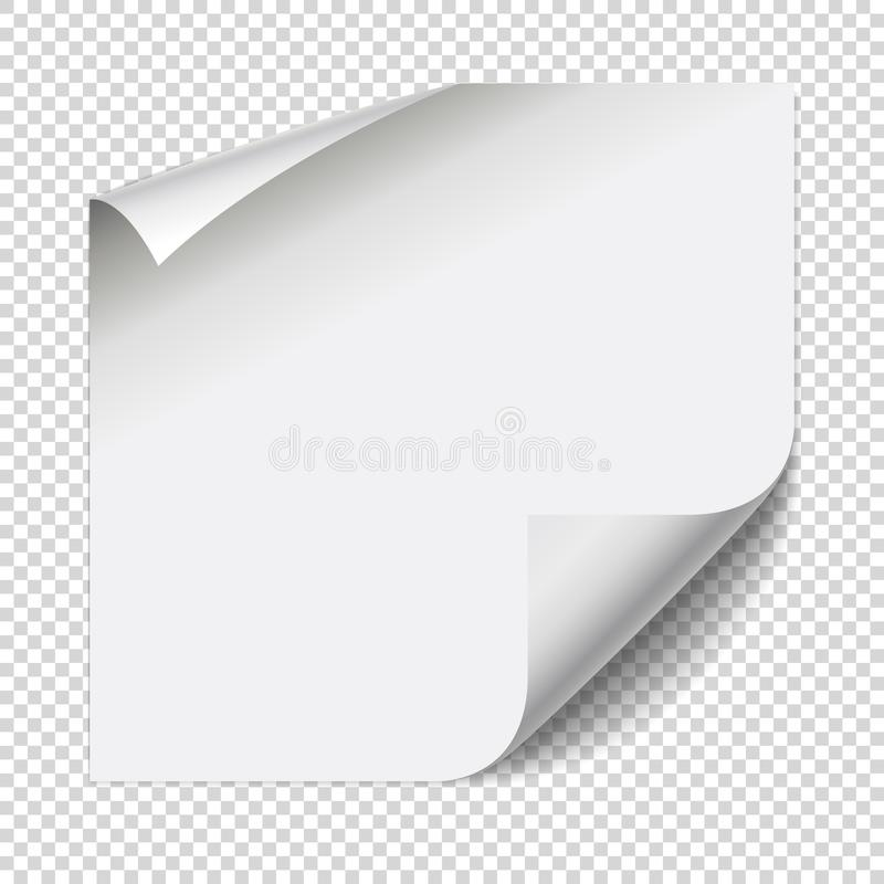 Sticker paper note. White sheet with curled corners. And soft shadows isolated on transparent background. Vector illustration, eps 10 vector illustration