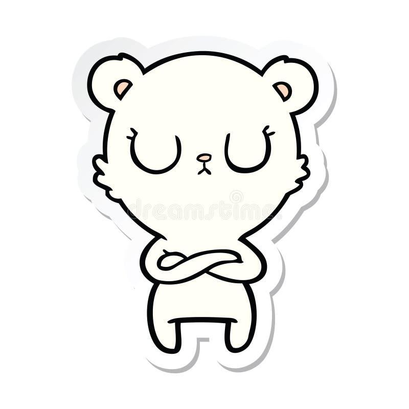Sticker of a peaceful cartoon polar bear. A creative illustrated sticker of a peaceful cartoon polar bear stock illustration