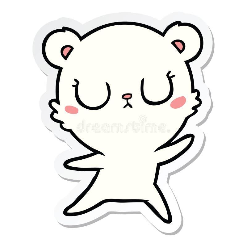 Sticker of a peaceful cartoon polar bear. A creative illustrated sticker of a peaceful cartoon polar bear vector illustration