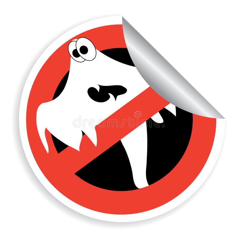 Sticker prohibition sign with ghost for Halloween stock illustration