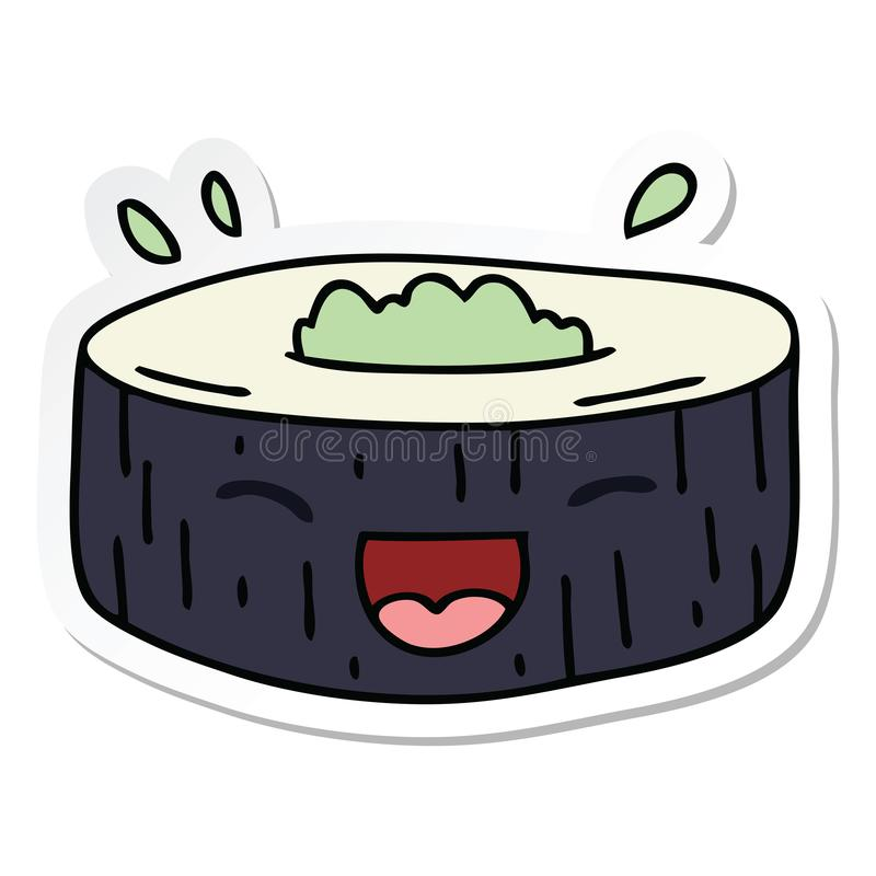 Sticker of a quirky hand drawn cartoon happy sushi. A creative illustrated sticker of a quirky hand drawn cartoon happy sushi stock illustration