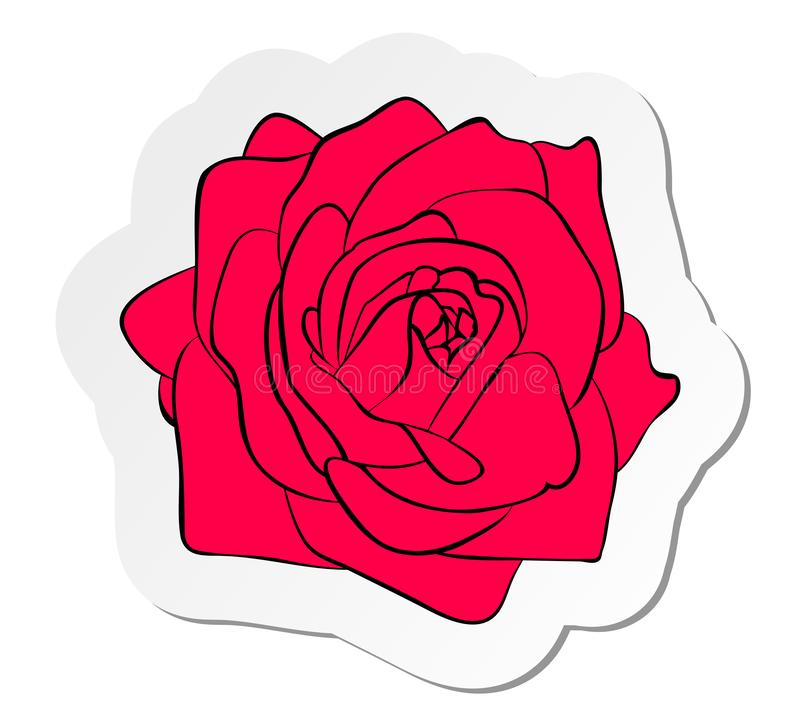 Sticker of red rose flower in flat cartoon style isolated on white background vector illustration
