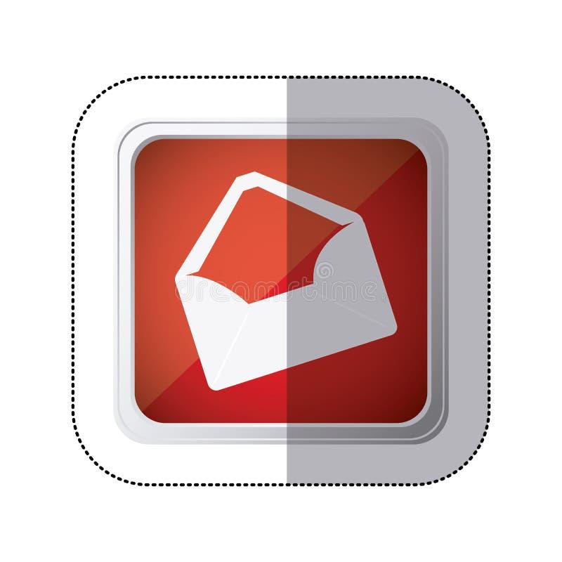 sticker rode vierkante knoop met silhouet lege document geopende enveloppen stock illustratie