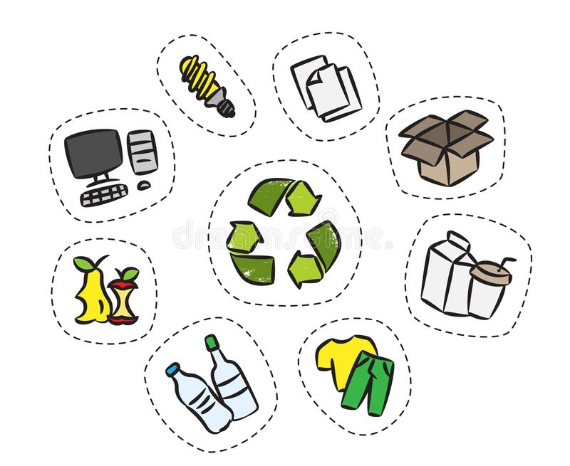 Sticker set with recycle sign vector illustration stock illustration