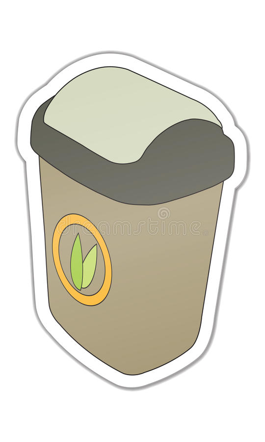 Sticker showing trash stock photo