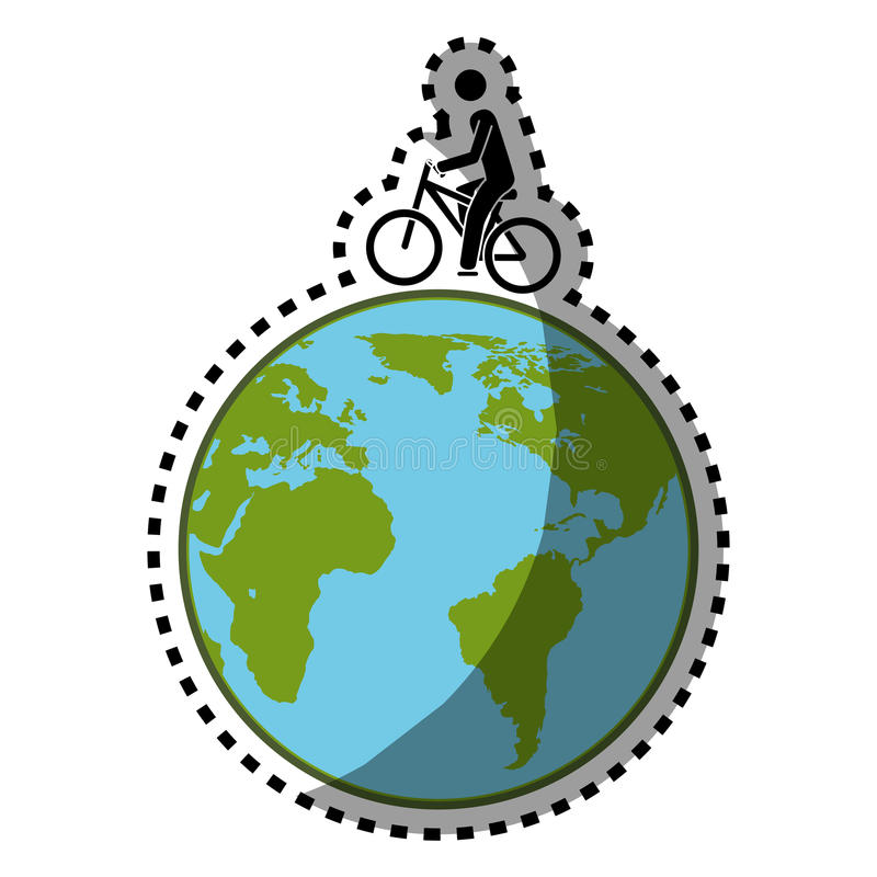 Sticker silhouette color with map world and man in eco bike stock download sticker silhouette color with map world and man in eco bike stock vector illustration gumiabroncs Images
