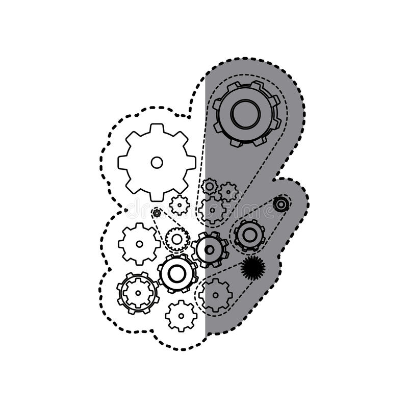 sticker silhouette set gear wheel icons stock illustration