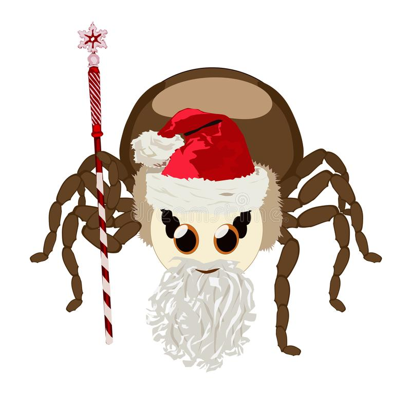 Sticker spider isolated in Santa Claus`s suit royalty free illustration