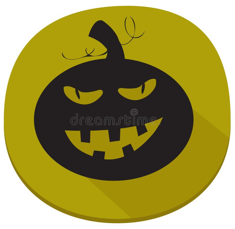 Sticker with spooky halloween pumpkin stock illustration