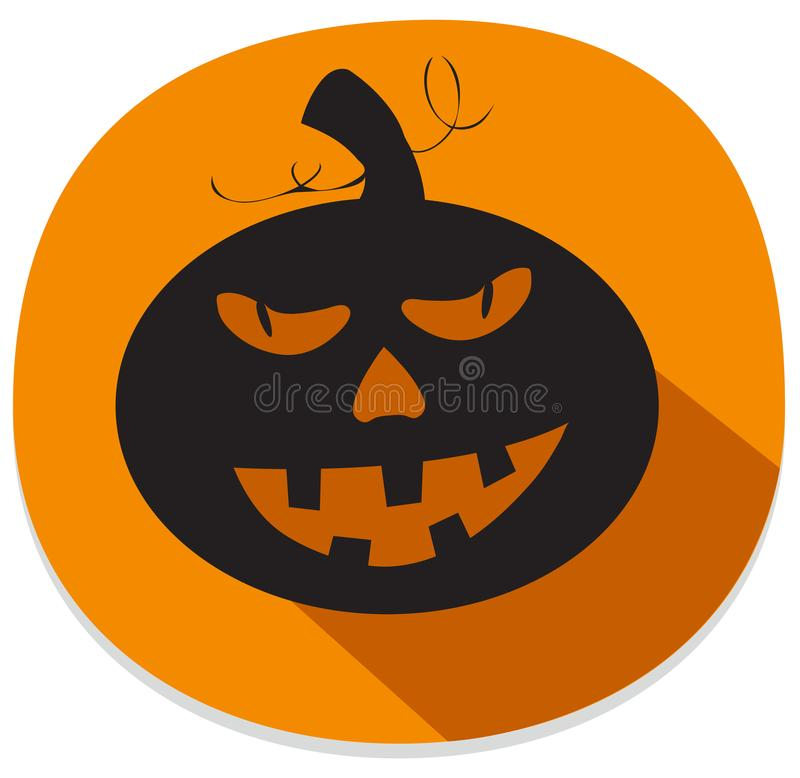Sticker with spooky halloween pumpkin stock illustration