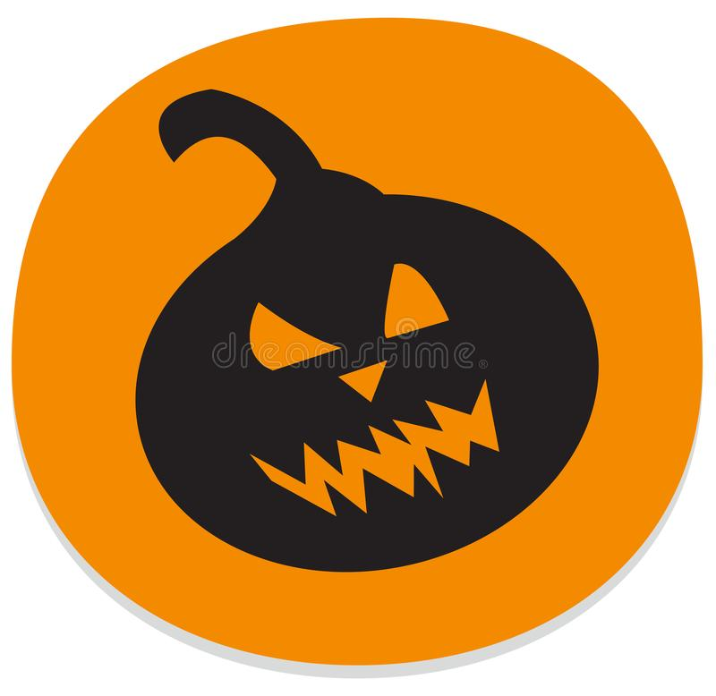 Sticker with spooky halloween pumpkin vector illustration