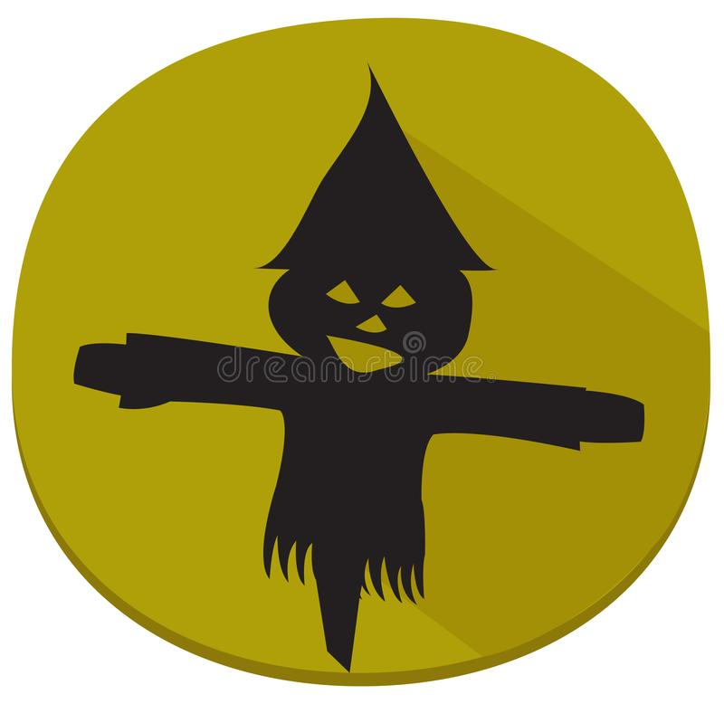 Sticker with spooky halloween scarecrow stock illustration