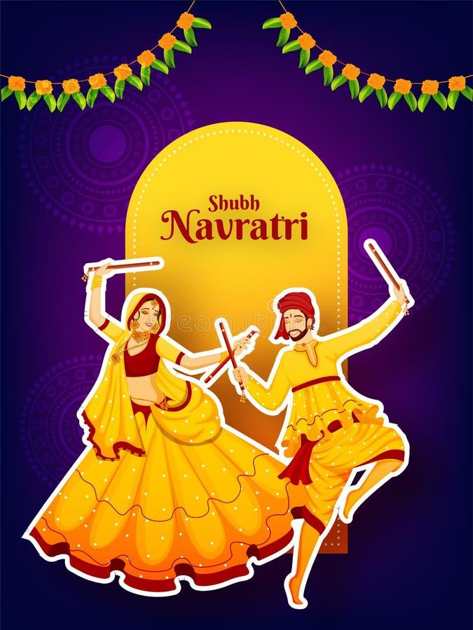 Sticker style character of couple dancing with dandiya stick on purple mandala flowers background. vector illustration