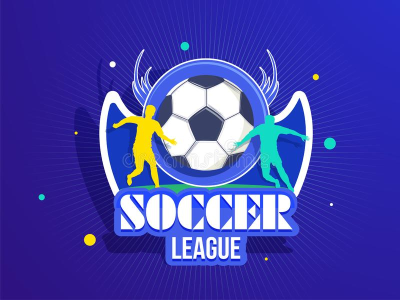 Sticker style soccer badge with silhouette of football players for Soccer League concept. royalty free illustration