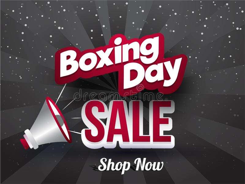 Sticker style text Boxing Day Sale with megaphone on grey rays b vector illustration