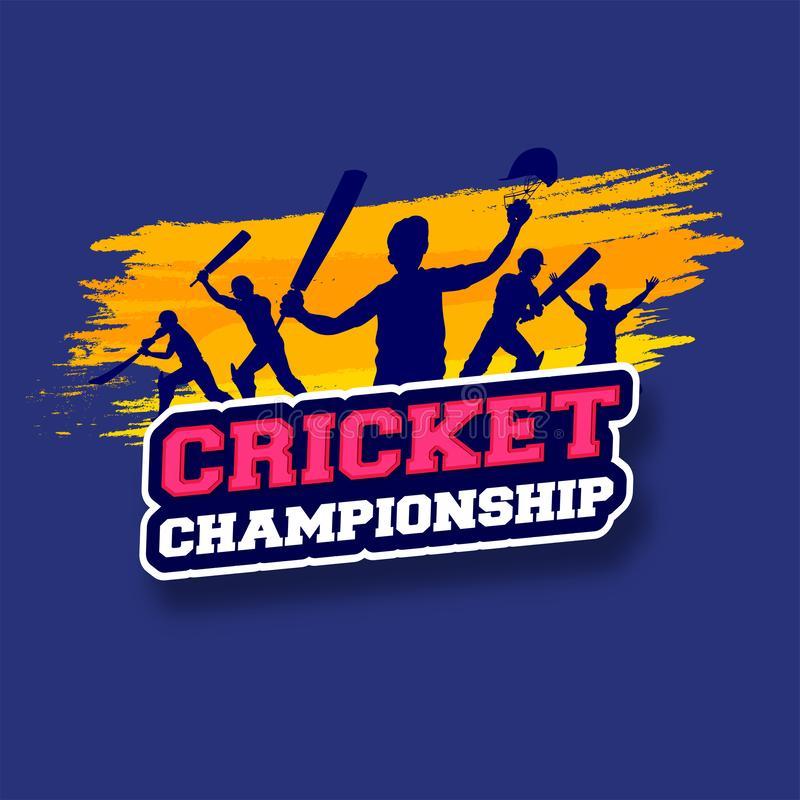 Sticker style text Cricket Championship with silhouette of cricket players. stock illustration