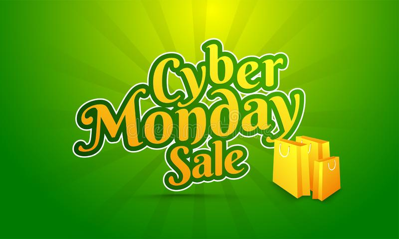 Sticker style text Cyber Monday Sale with shopping bags on green royalty free illustration