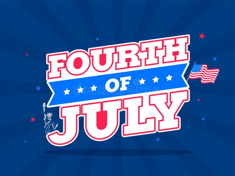 Sticker style text Fourth Of July with wavy flag on blue rays background for Happy Independence Day. stock illustration