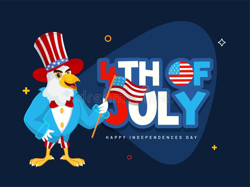 Sticker style text 4th Of July and eagle cartoon character holding American Flag on blue background. royalty free illustration