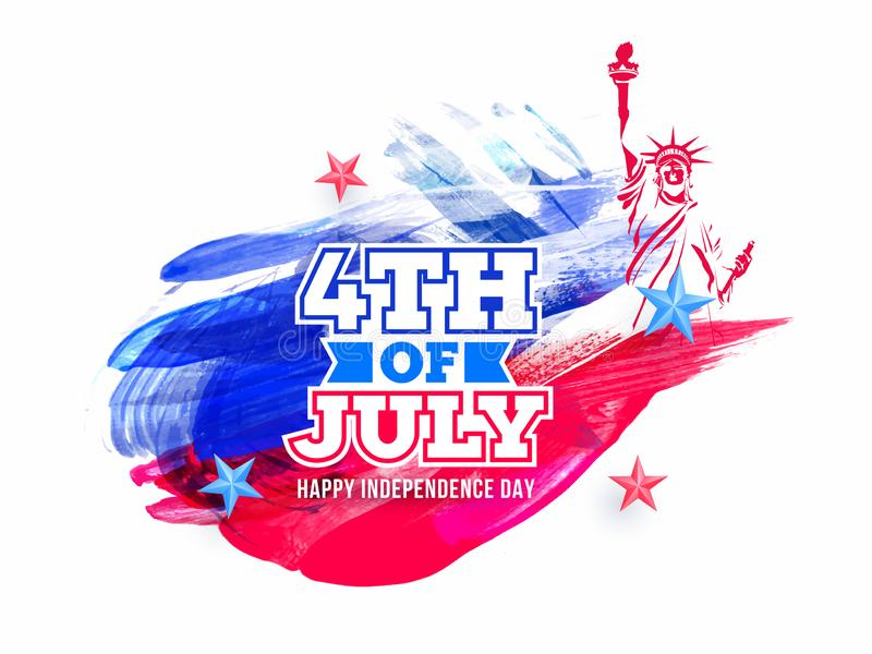 Sticker style text 4th Of July and Statue of liberty on brush stroke background for Happy Independence Day. royalty free illustration