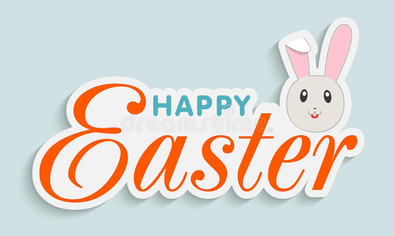 Sticker, tag or label design for Happy Easter celebration. vector illustration