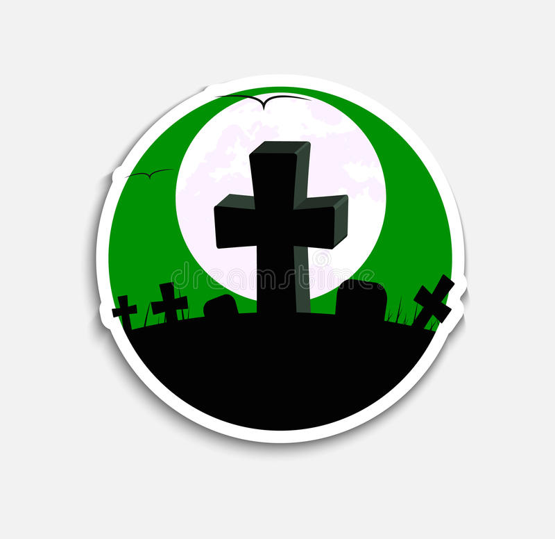 Sticker Template icons on Halloween. Sticker Design icons on Halloween night with a green sky and graves with crosses on the hill. Vector illustration vector illustration