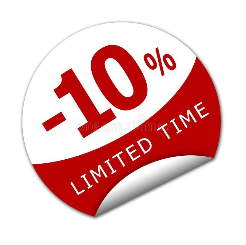 Sticker tien percenten weg voor een beperkte tijd royalty-vrije illustratie