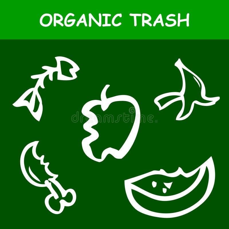 Sticker for Trash Bin, Simple Vector Hand Draw Sketch, organic Trash, Apple, Banana Skin, Fish Bone, Bited Chicken Leg, Watermelon. Simple Vector Hand Draw stock illustration
