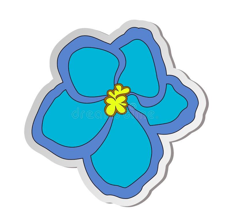 Sticker van blauwe Afrikaanse violette bloem in vlakke die beeldverhaalstijl op witte achtergrond wordt geïsoleerd stock illustratie